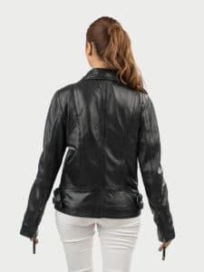 Alva biker leather jacket black back