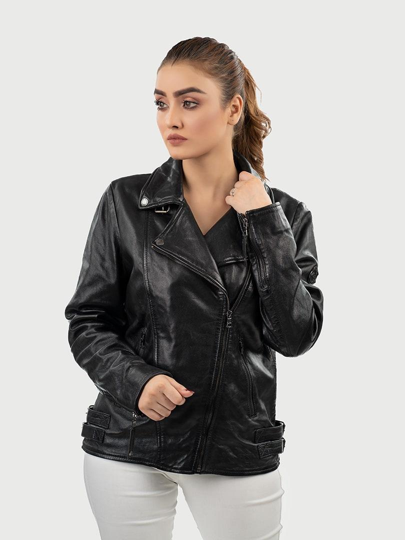 Alva biker leather jacket black front