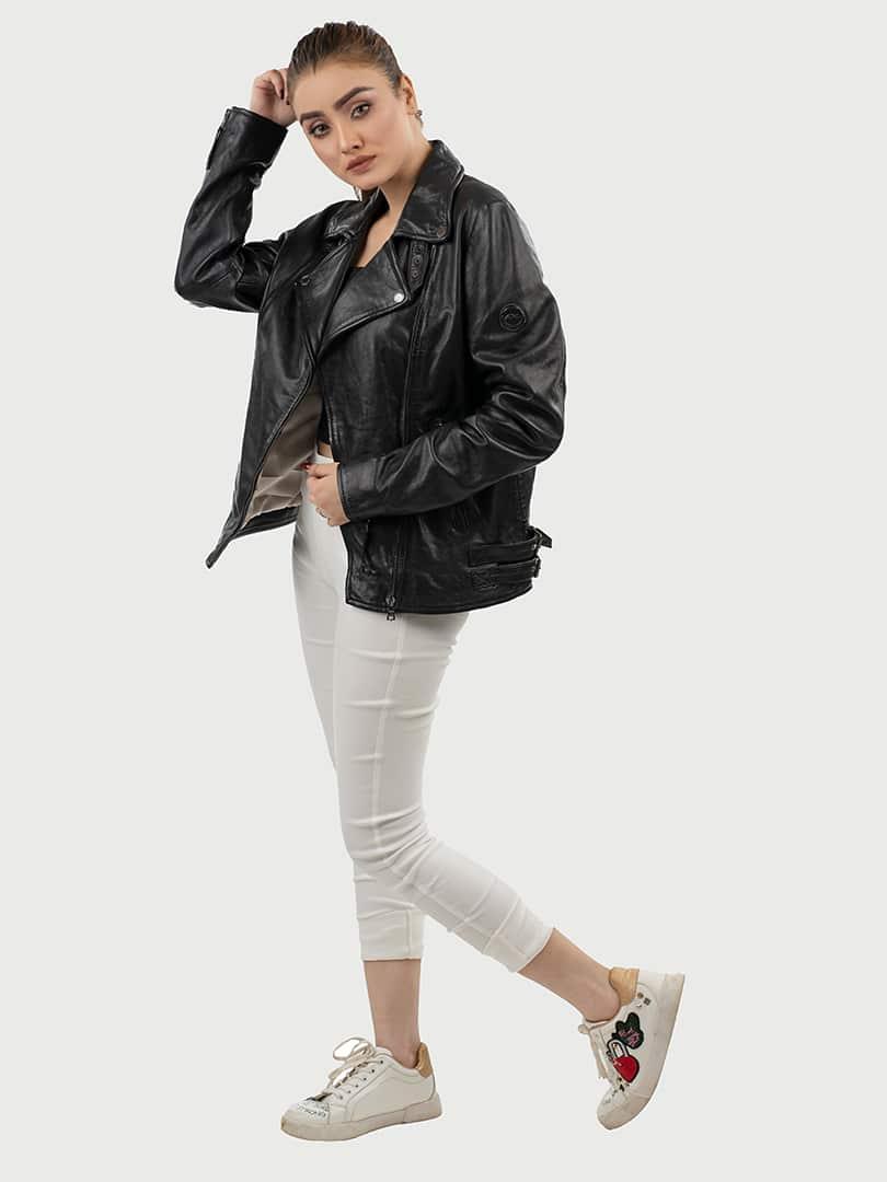 Alva biker leather jacket black pose 2