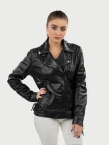 Alva biker leather jacket black pose