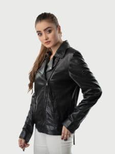 Alva biker leather jacket black side