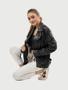 Alva biker leather jacket black sitting