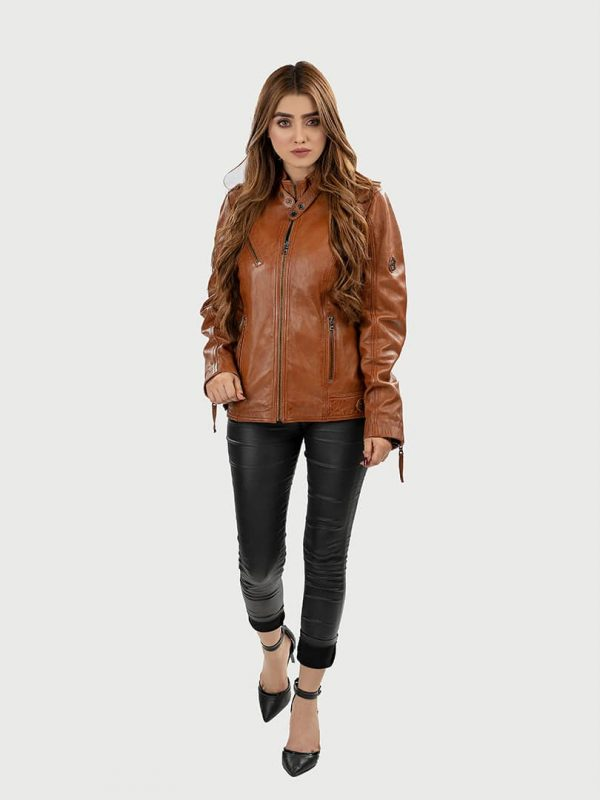 Blueorn Anneli women leather jacket front 3