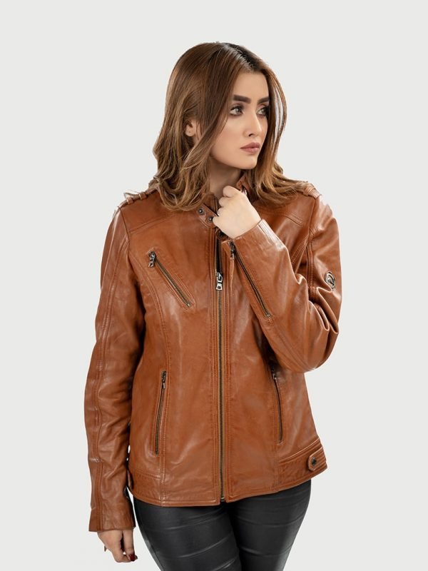 Blueorn Anneli women leather jacket front