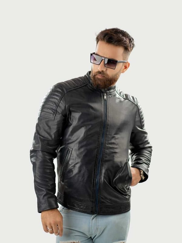 Edvin men leather jacket front 2