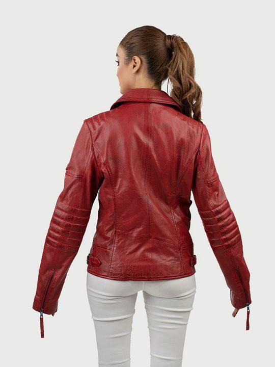 Hedda red biker leather jacket back