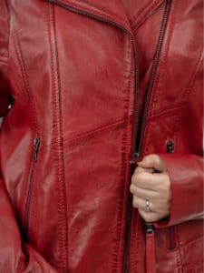 Hedda red biker leather jacket close 2