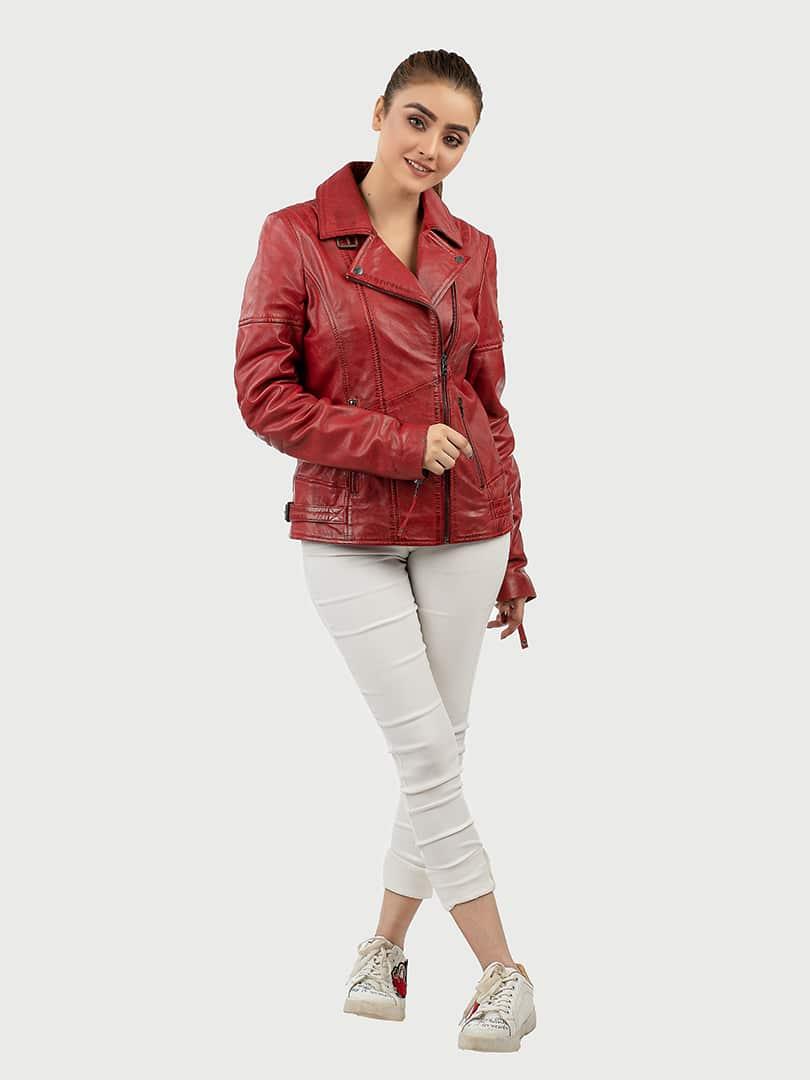 Hedda red biker leather jacket front 2