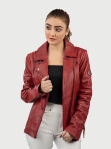 Blueorn Hedda red biker leather jacket front