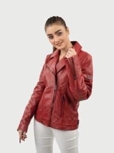 Hedda red biker leather jacket front 3