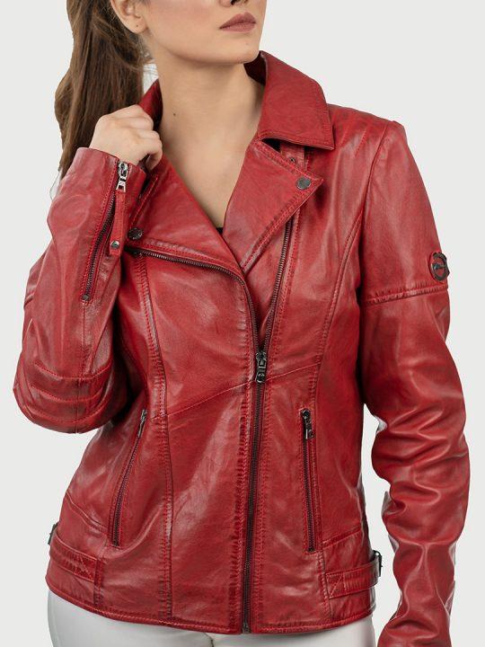 Hedda red biker leather jacket front 4