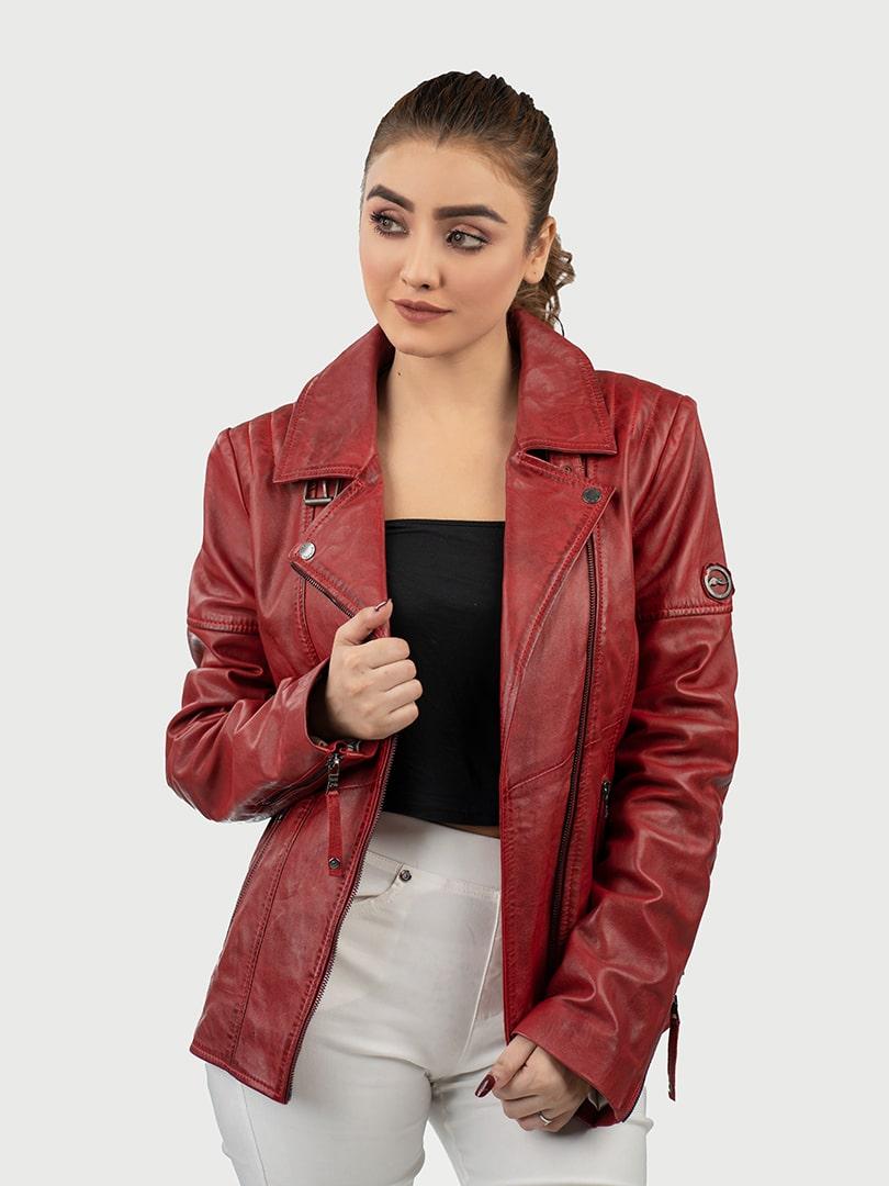 Hedda red biker leather jacket front