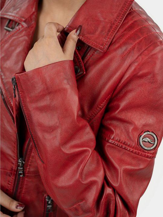 Hedda red biker leather jacket shoulder